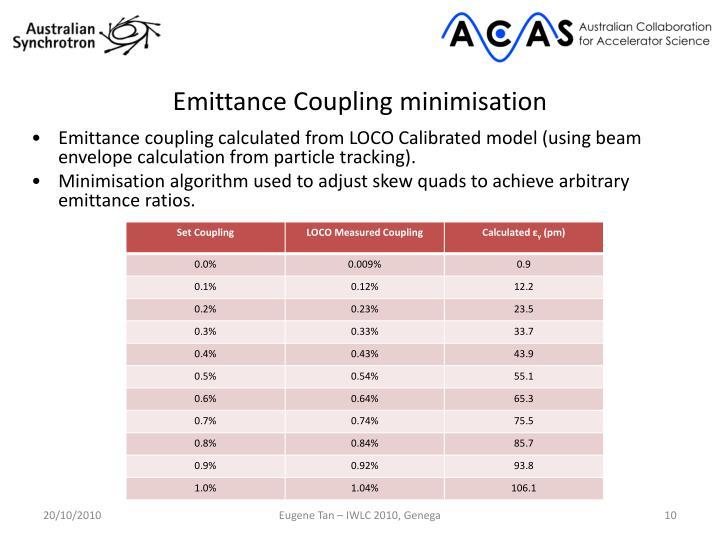 Emittance Coupling minimisation