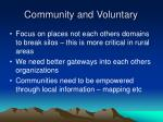 community and voluntary