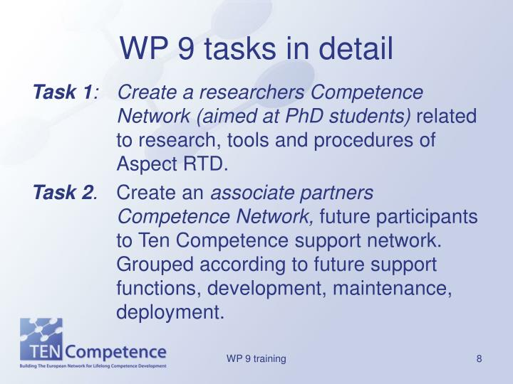 WP 9 tasks in detail
