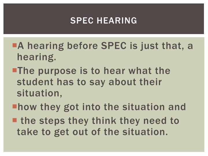 SPEC Hearing