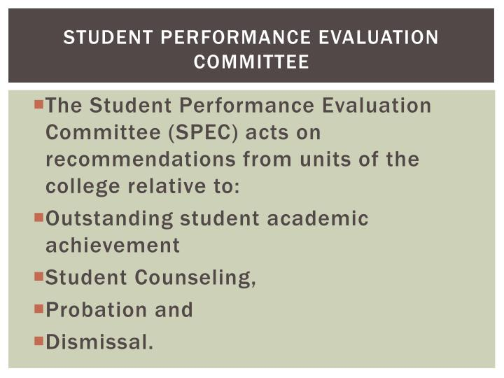 Student Performance Evaluation Committee