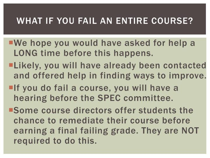 What if you fail an entire course?