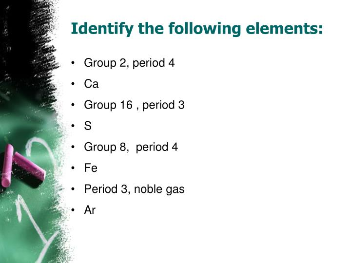Identify the following elements: