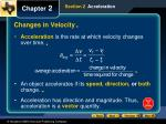 changes in velocity