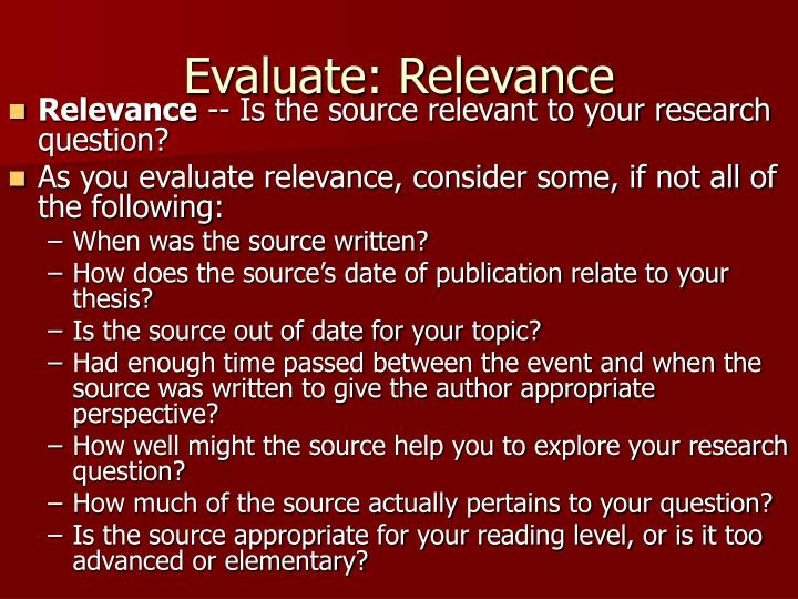 Evaluate: Relevance