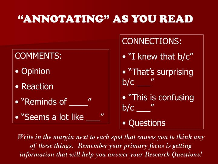 """ANNOTATING"" AS YOU READ"