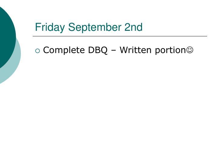 Friday September 2nd