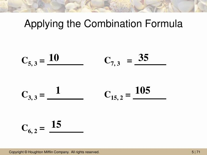 Applying the Combination Formula