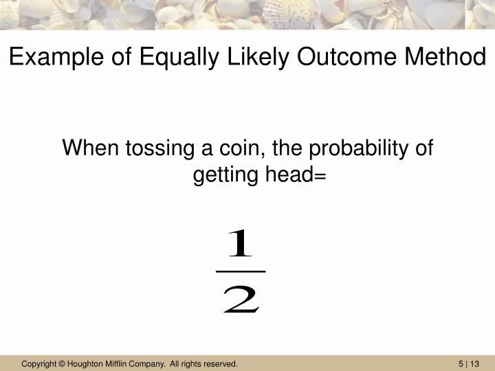 Example of Equally Likely Outcome Method