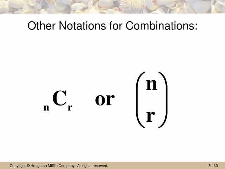 Other Notations for Combinations: