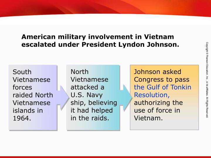 North Vietnamese attacked a U.S. Navy ship, believing it had helped in the raids.
