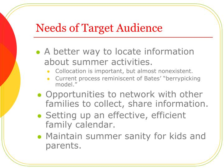 Needs of Target Audience