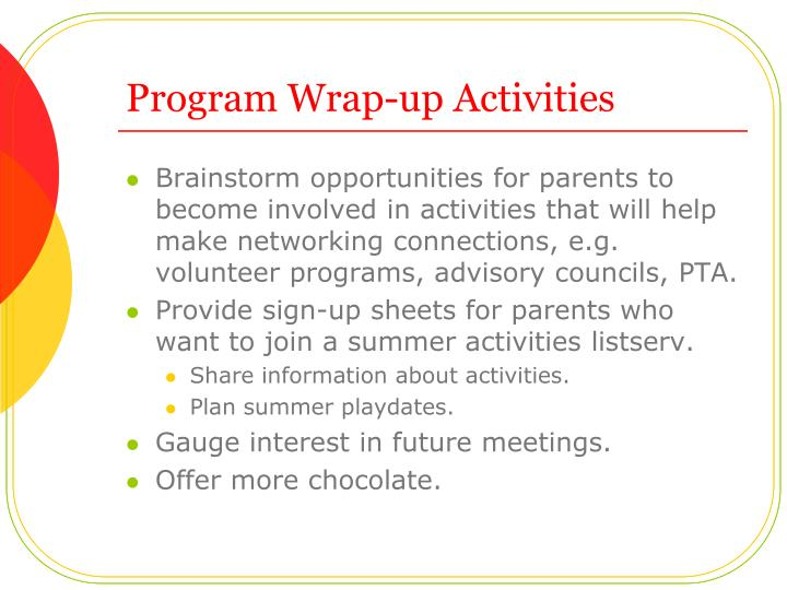 Program Wrap-up Activities