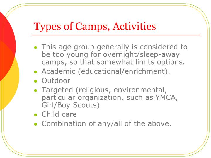 Types of Camps, Activities
