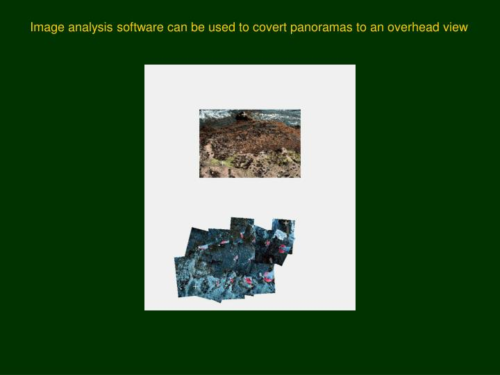 Image analysis software can be used to covert panoramas to an overhead view