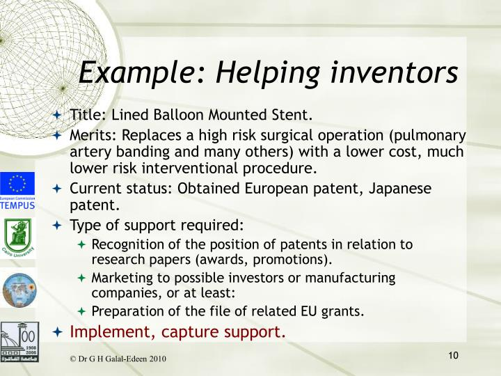 Example: Helping inventors