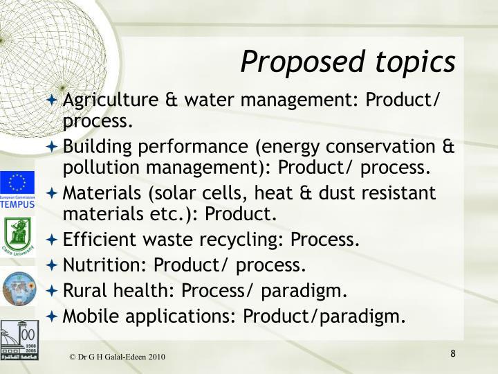 Proposed topics