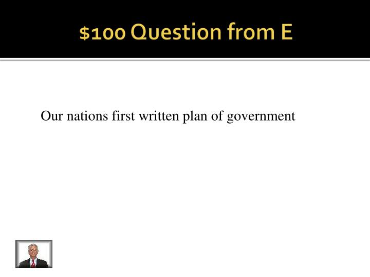 $100 Question from E