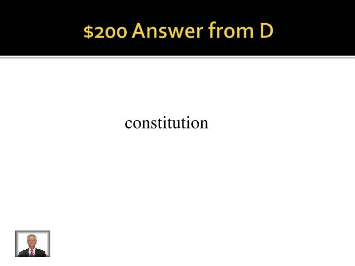 $200 Answer from D