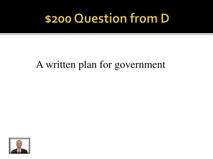 $200 Question from D