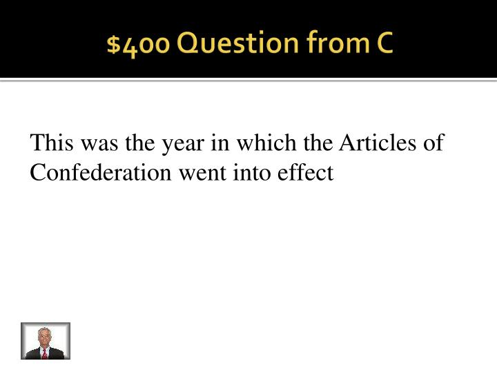 $400 Question from C
