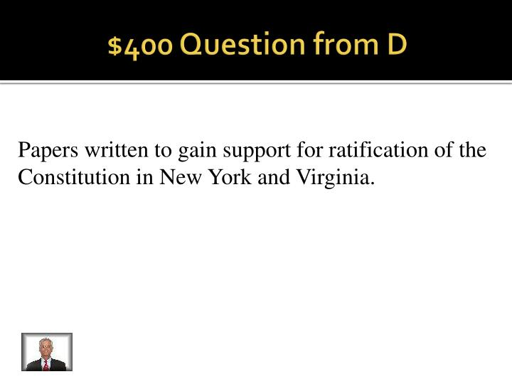 $400 Question from D