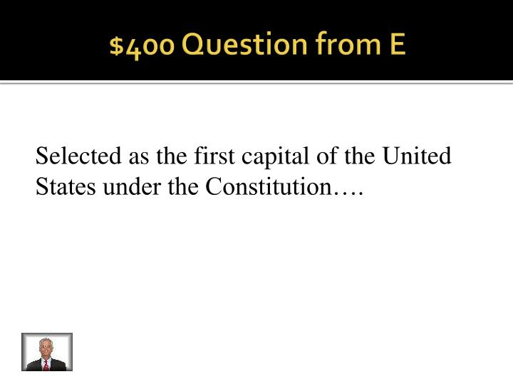 $400 Question from E