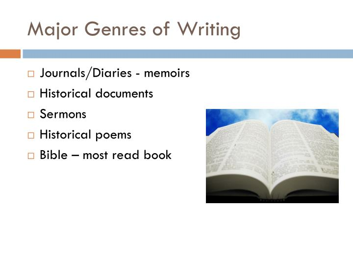 Major Genres of Writing