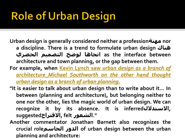 Role of Urban Design