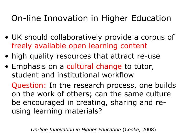 On-line Innovation in Higher Education
