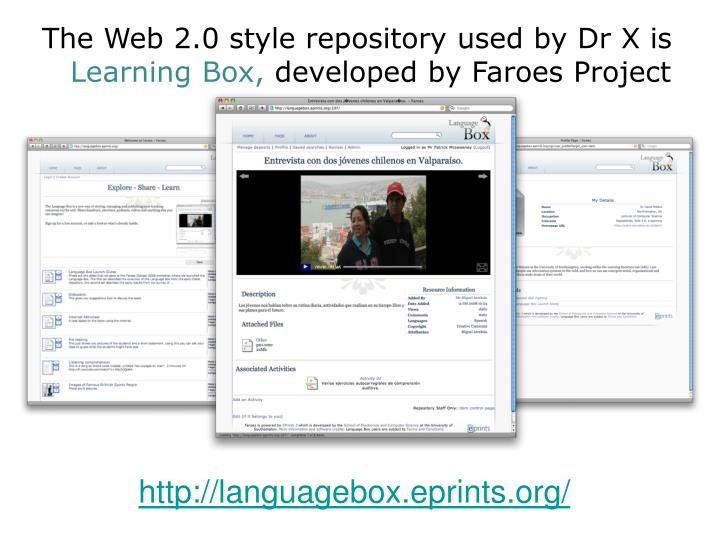 The Web 2.0 style repository used by Dr X is