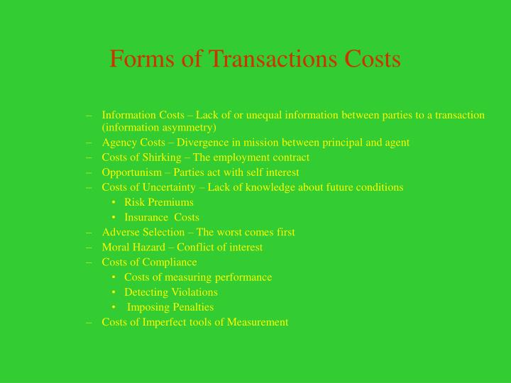 Forms of Transactions Costs