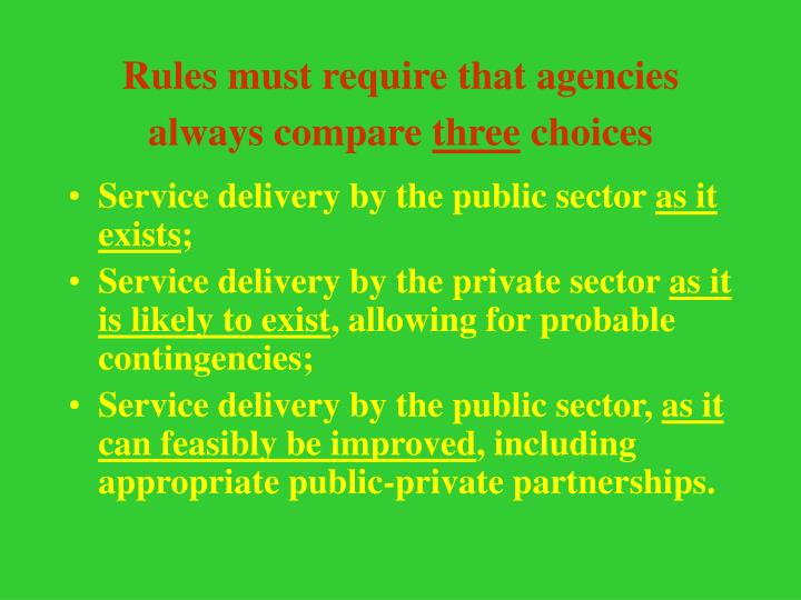 Rules must require that agencies always compare