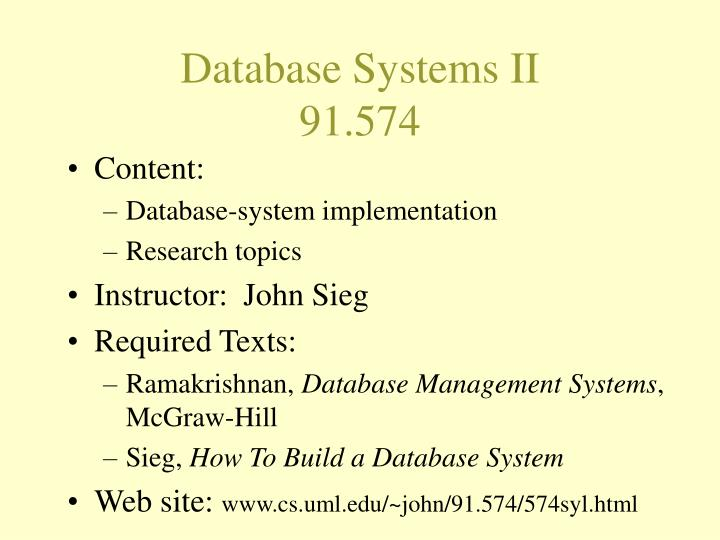 Database Systems II