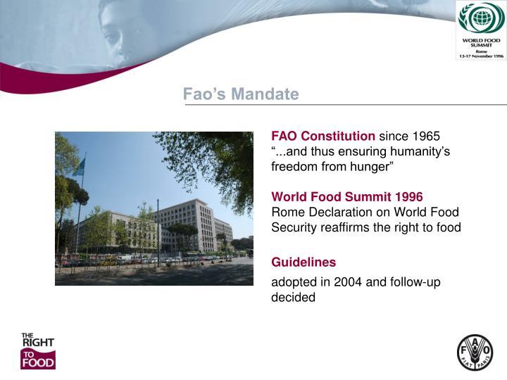 Fao's Mandate