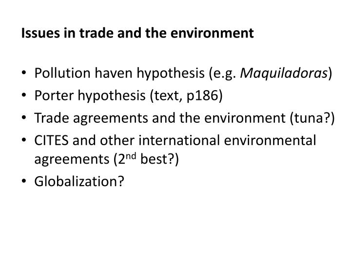 Issues in trade and the environment