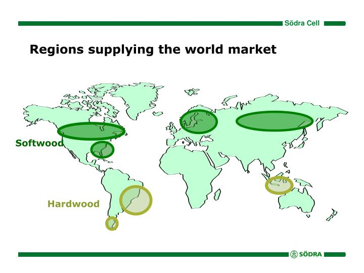 Regions supplying the world market