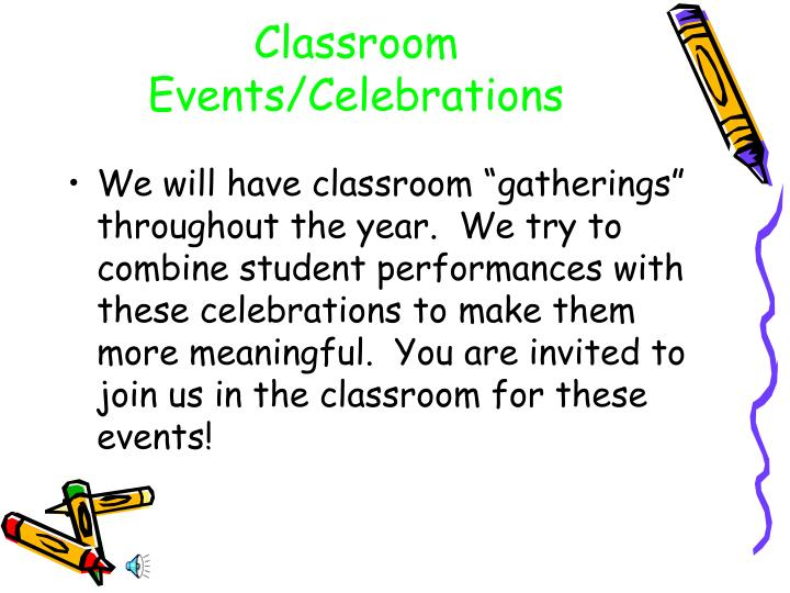 Classroom Events/Celebrations