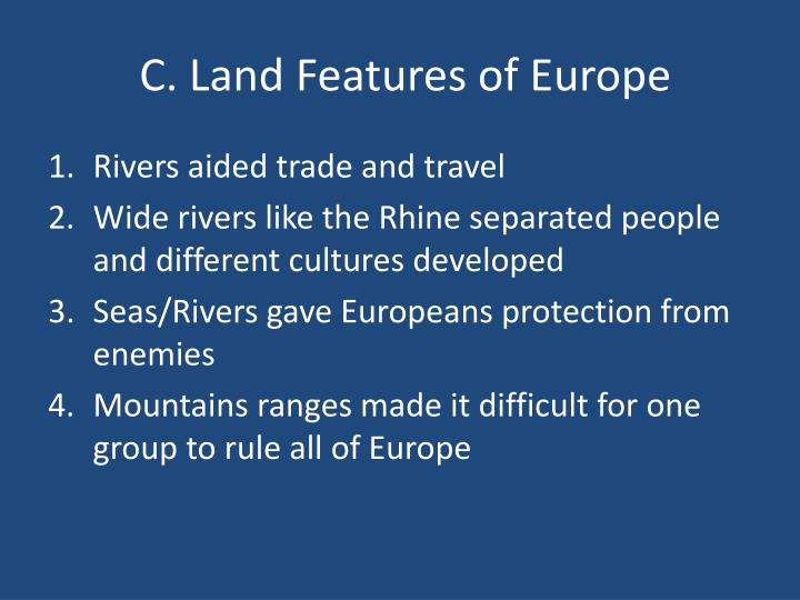 C. Land Features of Europe