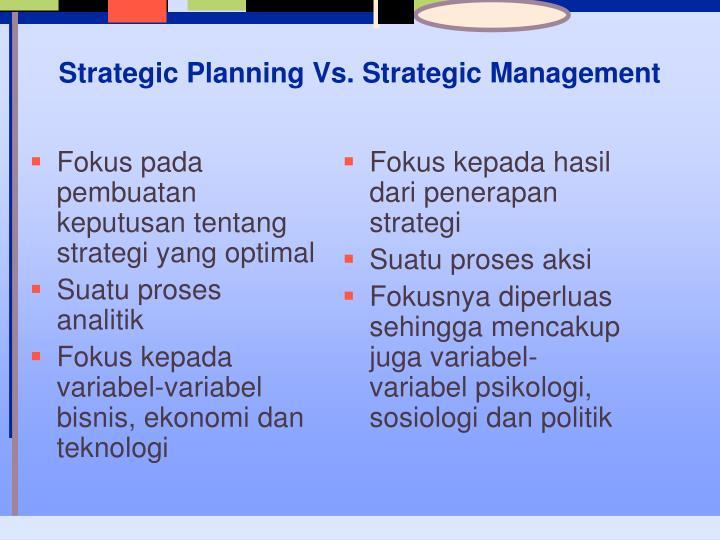 Fokus pada pembuatan keputusan tentang strategi yang optimal