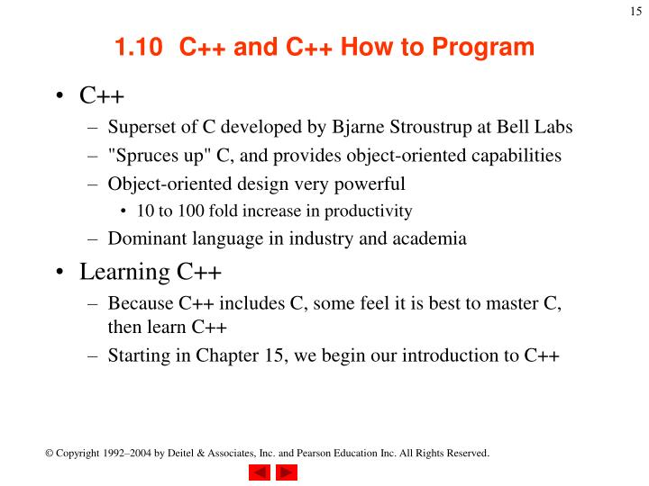1.10C++ and C++ How to Program