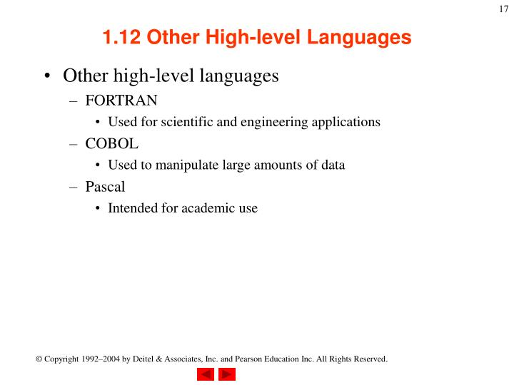 1.12 Other High-level Languages