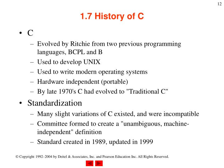 1.7 History of C