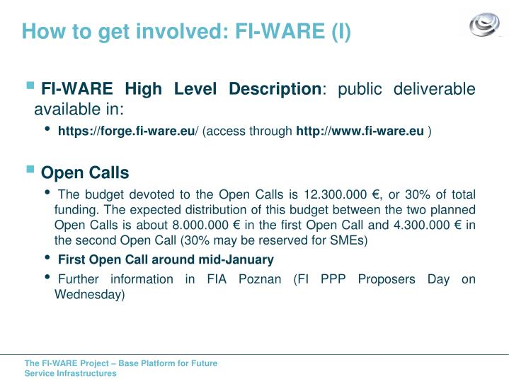 How to get involved: FI-WARE (I)