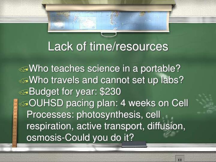 Lack of time/resources