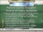 national science education science as inquiry standards