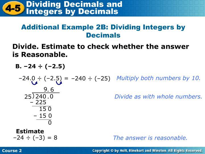 Dividing Decimals and                  Integers by Decimals
