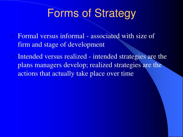 Forms of Strategy