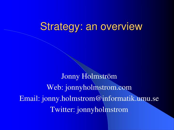 Strategy an overview