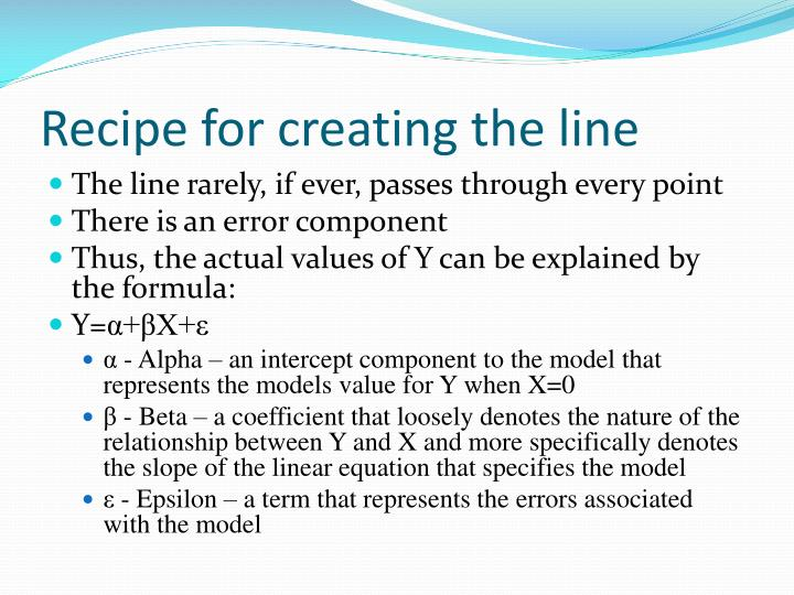 Recipe for creating the line